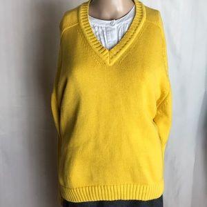 Lands' End Mustard Color V-Neck  Sweater Size L
